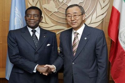 Secretary-General Ban Ki-moon (right) meets with Obiang Nguema Masogo, President of Equatorial Guinea, at UN Headquarters in New York.