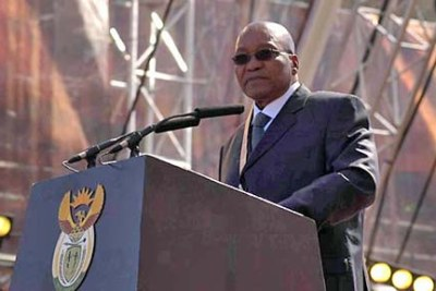 President Jacob Zuma addressing crowds after his inauguration as President of South Africa.