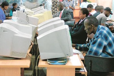 Customers at a cyber cafe in Nairobi, Kenya.