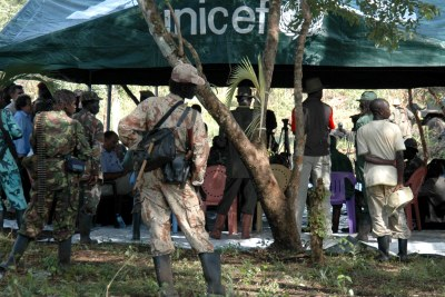 A meeting between leaders of the Lord's Resistance Army and the United Nations near the Sudan-DR Congo border three years ago: The LRA now stands accused of a 10-month rampage of killings, rape and mutilation in the two countries.