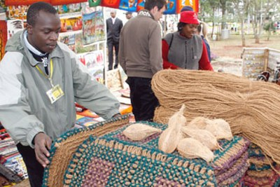 (file photo) A textile exhibitor at an African Growth and Opportunity Act (Agoa) conference in Nairobi.