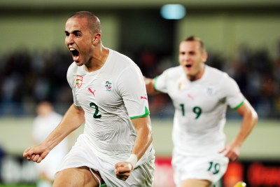 Madjid Bougherra, seen celebrating scoring at a previous tournament, is back in Algeria's side.