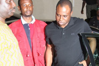 Dimeji Bankole being led away by EFCC officials.