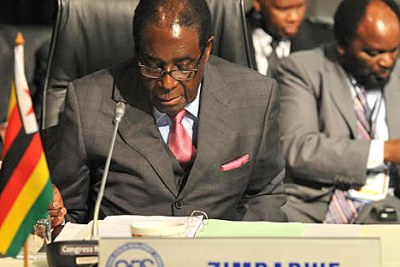 Zimbabwian President Robert Mugabe at opening of Summit of SADC extraordanary Summit, Sandton Convention Centre, Johannesburg, South Africa, 11 June 2011.