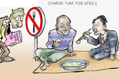 A cartoon about Chinese investment in Zambia.