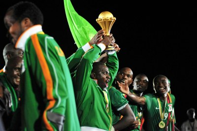 Chipolopolo celebrate winning the title for the first time.