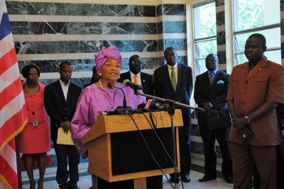 President Sirleaf and members of her cabinet.