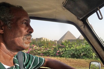 The pyramids of Giza seen from a taxi in Cairo, Egypt (file photo).