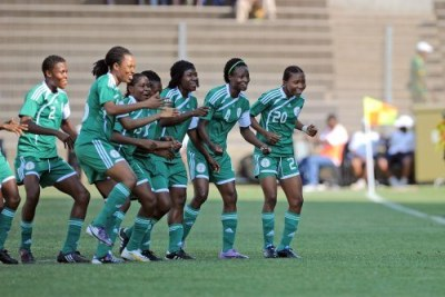 Nigeria's Super Falcons celebrating.