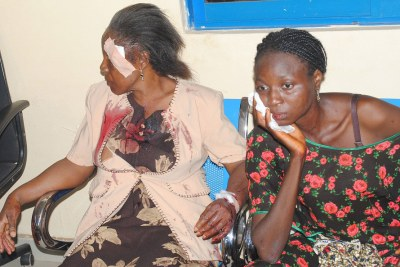 Victims of bomb blast in Kaduna, waiting for medical assistance.