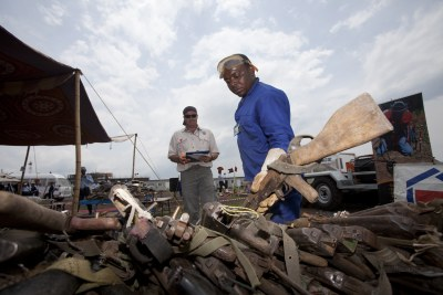 Weapons retrieved from rebels by the United Nations mission in the Democratic Republic of the Congo being destroyed.(file photo).