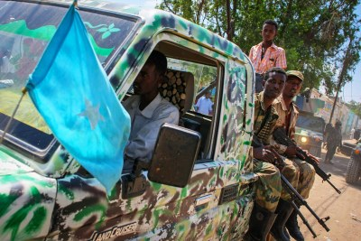 A pickup truck carrying soldiers of the Somali National Army (file photo).
