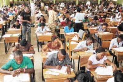Students taking exams.