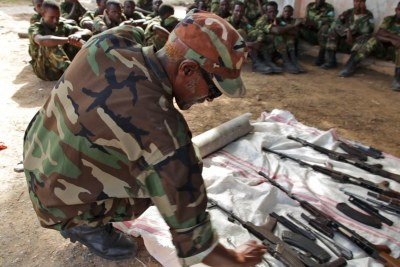 A senior officer inspects weapons dismantled by soldiers of the Somali National Army as part of a weapons drill at the Gashandiga barracks in Mogadishu (file photo).