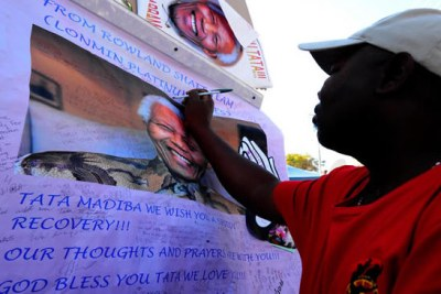 Messages of support to Nelson Mandela outside his hospital in Pretoria.