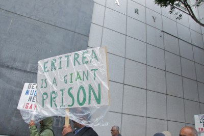 "Free Eritrea democracy march in San Francisco. The country is plagued by human rights abuses, and ""torture, arbitrary detention, and severe restrictions on freedom of expression"" and has been called a giant prison by activists (file photo)."