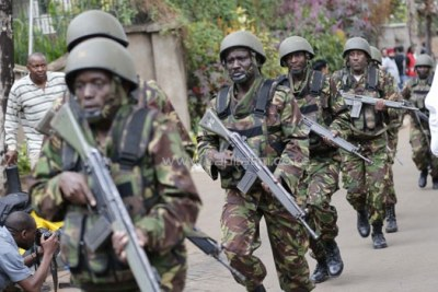 Kenyan security forces at the upmarket Westgate mall in Nairobi which was attacked by terrorists in September 2014.