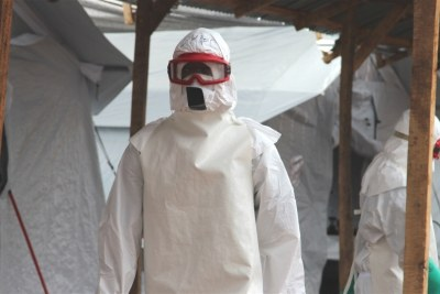Health worker in an Ebola treatment centre.
