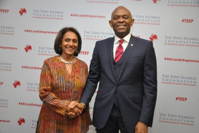 R-L: Founder, The Tony Elumelu Foundation and Chairman, Heirs Holdings Limited, Mr. Tony O. Elumelu, CON; CEO, Tony Elumelu Foundation, Parminder Vir; during the press conference held in Lagos on Wednesday, announcing the entrepreneurship boot camp for the 1,000 selected Tony Elumelu Entrepreneurs representing all 36 Nigerian states and 51 African countries scheduled for July 10-12 in Ota, Ogun State.