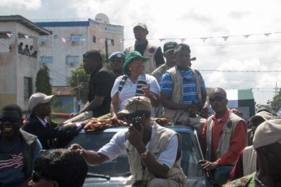 President Ellen Johnson Sirleaf on the campaign trail in 2011.