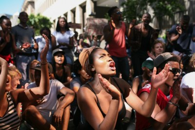 Students gathered in Cape Town's Parliamentary precinct to protest against university fee increases in August 2016.