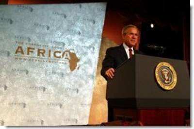 President George Bush addressing the Corporate Council on Africa's U.S.-Africa Business Summit at the Washington Hilton Hotel