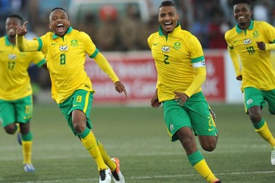 Bafana Bafana celebrate during Cosafa match.