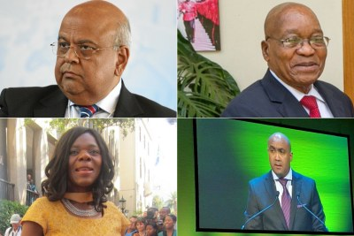 Finance Minister Pravin Gordhan, President Jacob Zuma, former public protector Thuli Madonsela and Shaun Abrahams, head of the National Prosecuting Authority.