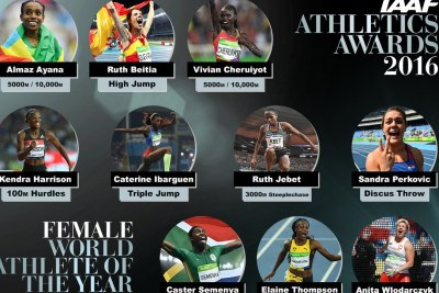 Women nominees for 2016 World Athlete of the year.