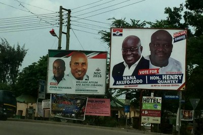 Campaign billboards in Accra