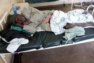 A patient lies on his hospital bed unattended at the Mbagathi Hospital in Nairobi (file photo)