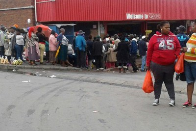 People queue for social grants in Mdantsane, East London.
