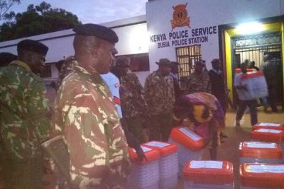 Kenyan  officials prepare to dispatch materials to various polling stations during the nomination process this year.