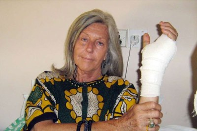 Conservationist Kuki Gallmann shows the arm which was fractured after illegal grazers invaded her Laikipia Nature Conservancy ranch (file photo).