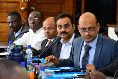 Under fire. Dott Services directors led by Venugopal Rao (right ), appear before the Parliament Committee on Commissions, Statutory Authorities and State Enterprises recently.