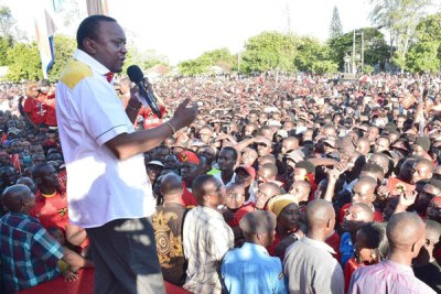 President Uhuru Kenyatta on a tour in Kilifi (file photo).