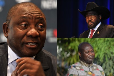 Left: South African President Cyril Ramaphosa. Top-right: South Sudanese President Salva Kiir. Bottom-right: Riek Machar.