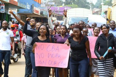 Nurses demonstrate in the streets of Kisii town.