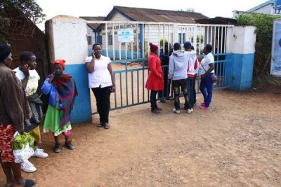 Patients stranded outside the gate of the Nyeri County Referral Hospital during a past strike.