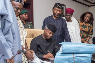 Acting President Yemi Osinbajo has signed the 2017 Appropriation Bill into law.