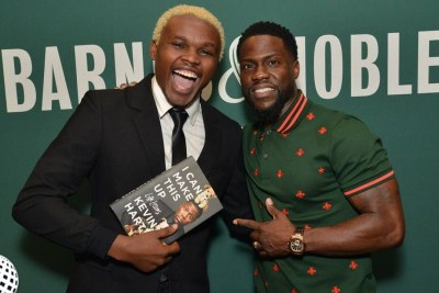Kenyan comedian Chipukeezy with Kevin Hart.