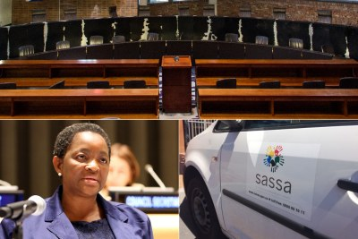 Top: Seats of the Constitutional Court. Bottom-left: Social Development Minister Bathabile Dlamini. Bottom-right: South Africa Social Security Agency vehicle.