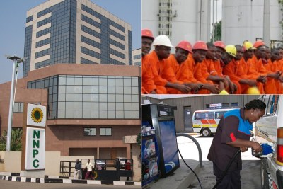 Petroleum corporation headquarters, oil workers and filling station.