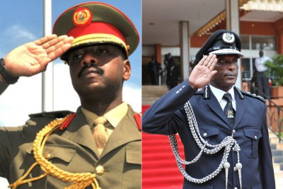 The Chief of Defence Forces  General, David Muhoozi and the Inspector General of Police General, Kale Kayihura.