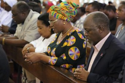 President John Magufuli in church during a service.