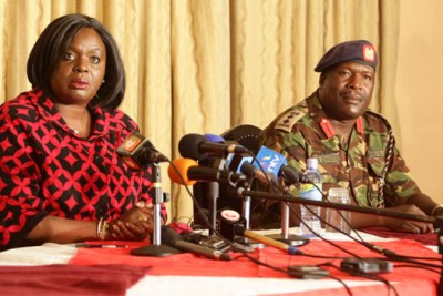 Defence Cabinet Secretary Raychelle Omamo addressing journalists at the defence headquarters in Nairobi.