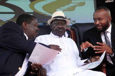 Nasa co-principal Musalia Mudavadi (left), Nasa leader Raila Odinga (center), and Mombasa Governor Hassan Joho.