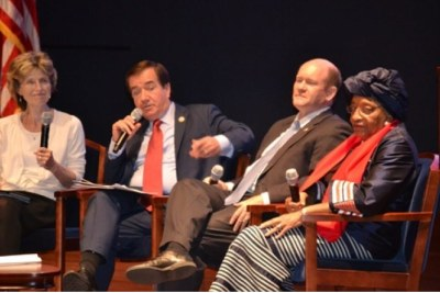 Following her final U.S. address as Liberia's president,  Ellen Johnson Sirleaf took part in a panel discussion at the U.S. Capitol with Sen. Chris Coons and Rep. Ed Royce, with Tami Hultman of AllAfrica moderating.