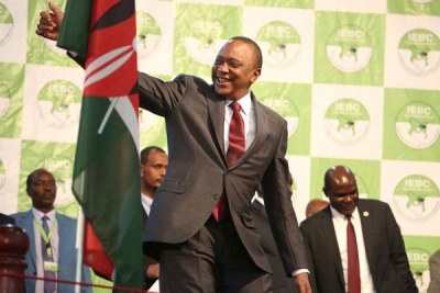 President Uhuru Kenyatta shows his gratitude at Bomas of Kenya, Nairobi, where he was declared winner of the rerun presidential election on October 30, 2017.