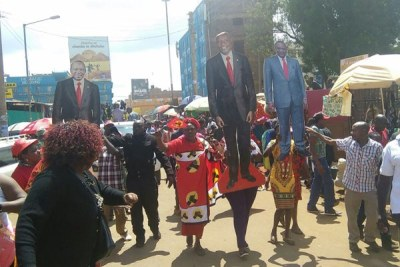 President Uhuru Kenyatta's supporters celebrate the Supreme Court's decision to uphold his election on Gakere Road in Nyeri Town on November 20, 2017.